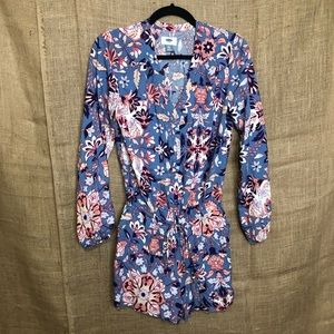 Old Navy XS Romper Floral Long Sleeve Blue Pretty